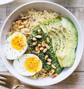 japanase quinoa kale pesto breakfast bowl