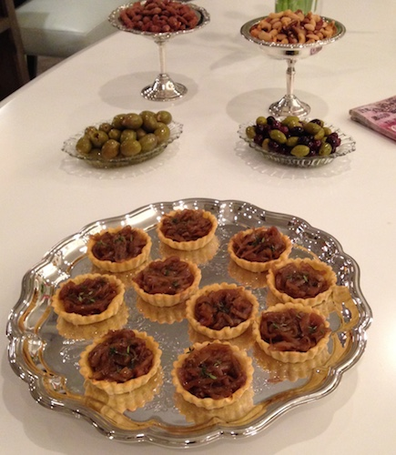 carmelized onion tartlets mixed nuts olives