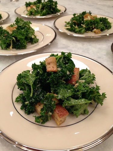 Locally grown kale Caesar salad with homemade croutons