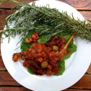 Basque-style rabbit in white wine & tomato sauce with green olives