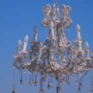 Hanging chandeliers in the garden